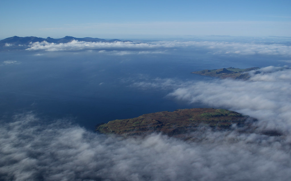 Little Cumbrae and Bute ahead, but runway fog-bound so we can't land