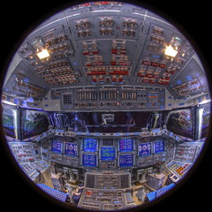 Space Shuttle Endeavour 360 VR Panorama (jurvetson) Tags: above up bay eva tour panel crane space flight perspective sigma cockpit center fisheye deck virtual shuttle processing instrument ksc facility 8mm kennedy hdr vr panaorama 360 powered orbiter opf endeavour airlock walkthrough payload everyscape