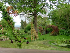 May Bank holiday weekend 2012 Slindon Open Gardens (Mark and Rebecca Ford Art Sculpture) Tags: sculpture art grass garden landscape pond arch westsussex wildlife hill lawn willow hazel tulip obelisk woven sculpturegarden arundel hawthorn seaview tipi wigwam opengardens gardendesign raisedbed arttrail slindon willowdome southdownsnationalpark aprilmay2012