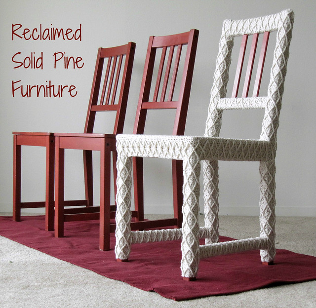 inspiration home diy furniture handmade crochet craft etsy fiberart decor homeoffice homedecor downtownsanmateo weddingchairs ikeahack accentchair recycledfurniture ecoetsy brideandgroomchairs sfetsy teamecoetsy rusticwedding knithack yarnbomb shabbychicwedding upcycledfurniture knitsforlife