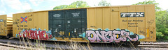 Yuthe Oncer (The Braindead) Tags: art minnesota yellow train bench photography graffiti interesting paint flickr stitch painted tracks minneapolis twin rail panoramic explore most beyond freight the braindead ttx cites flickrs benched oncer yuthe thebraindead
