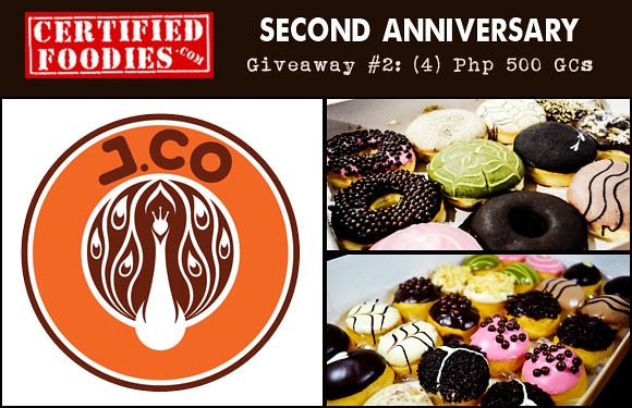 Certified Foodies 2nd Anniversary Giveaway 2 - Win Php 500 J.CO Donuts Gift certificates