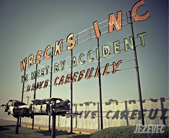 2012-05-23-014 Sign - Wrecks Inc - We Meet By Accident (Badger 23) Tags: old cars abandoned car sign drive rusty indiana sein carefully signe wrecks zeichen signo boonecounty znak jezevec enklas tegn   merkki mrk   wemeetbyaccident badger23 wrecksinc