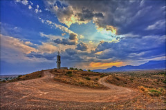 Road to the Telkom Tower (smee.bruce) Tags: road trip sunset storm tower clouds photoshop canon southafrica evening cloudy 5d telkom capeprovince hdr n1 photomatix beaufortwest 1740mml 3exp therebeastormabrewin