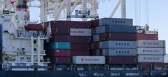 Cargo Containers Ym South (rschnaible) Tags: harbor terminal cargo cranes transportation sanfranciscobay shipping terminals distribution loading portofoakland cosco oceangoing acornindustrial ymsouth yangmingcontainers