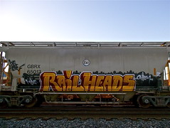 RailHeads (graffinspector) Tags: street art train painting graffiti rail more heads tagging freight chasm rk wholecar