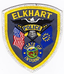 IN - Elkhart Police Department (Inventorchris) Tags: college club for justice office community peace cops display police indiana criminal cop service law enforcement elkhart patch emergency patches department officer crj waubonsee officers in