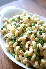 Spiral Pasta with Peas and Ham (Brandon Bills) Tags: wood light summer food brown white cooking cheese dinner garden recipe table lunch photo blog flavor dish wine image gardening cream ham pasta fresh delicious photograph blogging peas easy whitewine serving culinary garnish plating foodblog heavycream culinaryarts spiralpasta
