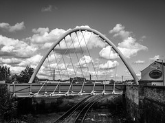 Gateway (Gary Danton) Tags: street bridge england bw white black unitedkingdom newport bolton gateway lightroom iphone