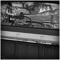 Tacoma Lowlife (GreenIMAGES©) Tags: girl digital truck canon reflections blackwhite washington sticker rust hula pickup decal tamron xti 1750mm tacom 400d tacomaphotographer greenimages©