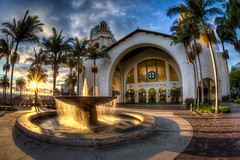Santa Fe Fountain (Justin in SD) Tags: light sunset sun reflection water fountain canon reflecting downtown sandiego dusk trolley fisheye sd amtrak trainstation canon5d coaster hdr sunstar downtownsandiego surfliner santafedepot canon5dmarkiii 5d3 5dmark3