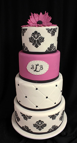 Pink Black and White Damask Monogram Wedding cake