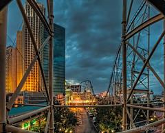 Roller Coaster (l.gallier) Tags: vegas lights july roadtrip fisheye rollercoaster bluehour hdr photomatix cs6 lgallier