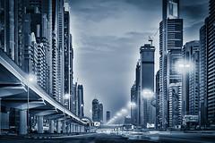 Sheikh Zayed Road (PhotoFredrik) Tags: city buildings mono dubai skyscrapers uae hdr trafic