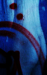 Blue Mystery (Jim B's Photographs) Tags: blue red texture graffiti layers photoshopelements8 appropriatednude