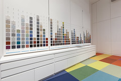 Altro Showroom London 2016-Altro safety flooring-Altro Whiterock White-27 (Altro USA) Tags: whiterock white walls showroom retail red orange green generalareas blue yellow