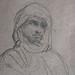 CHASSERIAU Théodore,1846 - Arabe debout, retenant un pli de son Burnous (drawing, dessin, disegno-Louvre RF24411) - Detail 5