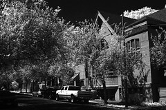 Church, NW Portland (Robert_Brown [bracketed]) Tags: robertbrown portland oregon church infrared ir blackandwhite bw trees summer