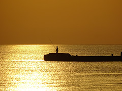 Gold Fishin'! (Golden Fisherman) (crush777roxx) Tags: crush777roxx crush 20160621 2016 june 21st compact camera sony hx60v sunrise pier fishing fisherman island sun water morning early predawn dawn ocean summer nature crete greece greek earlymorning sunrisewater goldocean liquidgold lonefisherman sunrisepier sunriseisland islandsunrise greecesunrise cretesunrise greekislandcrete greekisland creteisland reflection zoom cretegreece compactcamera sonyhx60v