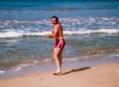 Dad at Hanalei Bay - c1983 (kimstrezz) Tags: 1983 familytriptohawaiic1983 hanaleibay kauai dad