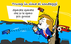 Donald Trump in cima ai sondaggi... E non vuole scendere pi. (SatiraItalia) Tags: satira trump sondaggi clinton hilary