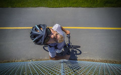 Looking Up (The.Mickster) Tags: self wideangle portrait bikepath helmet gopro fisheye chainlink bicycle randy hereios 365 bike greenbelt down fence