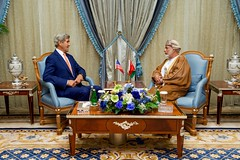 Secretary Kerry Sits With Omani Foreign Minister Yusuf bin Alawi bin Abdullah in the Royal Terminal 1 at King Abdulaziz International Airport in Jeddah (U.S. Department of State) Tags: johnkerry jeddah saudiarabia yusufbinalawibinabdullah