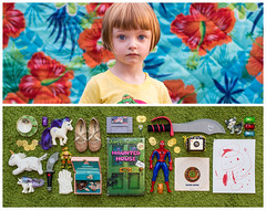 Olive Diptych (J Trav) Tags: persona kid child whatsinyourbag theitemswecarry showusthecontentsofyourbag diptych toys unicorns spriderman tmnt portrait