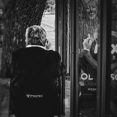Everyday #Adelaide No. 342 (Autumn/Winter) (michelle-robinson.com) Tags: streetphotographer snapseed life 4tografie street southaustralia capturinghumanity adelaide fujifilm australia blackandwhite everydayeverywhere photography everyday streetphotography documentary xseries bw michellerobinson people michmutters xt10 smoking smoker reflection 27mm