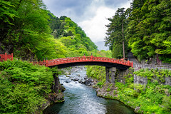The Holy Bridge (Pikaglace) Tags: sony a7 nikko red bridge japan japon pont rouge river rivire cloudy sky ciel nuageux shinkyo asie asia travel photography