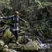 Jen crossing the creek, Myrtle Forest Trail