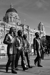The Beatles Return (andrewjd44) Tags: city england royalliver statue thebeatles blackandwhite liverpool bw