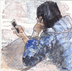 # 251 (07-09-2016) (h e r m a n) Tags: herman illustratie tekening bock oosterhout zwembad 10x10cm 3651tekenevent tegeltje drawing illustration karton carton cardboard meisje girl mobilephone mobile mobiel telephone telefoon