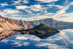 perfect reflection of Wizard island (PIERRE LECLERC PHOTO) Tags: oregon craterlake lake crater volcano cindercone landscape nature outdoors adventure roadtrip pierreleclercphotography reflection sky water wizardisland usa canon5dsr prints metalprints canvasprints framedprints