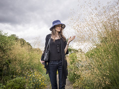 Marille, Hampshire 2016: Floral beauty (mdiepraam) Tags: marielle hampshire 2016 hintonampner nationaltrust england britain portrait pretty gorgeous attractive mature fiftysomething brunette woman lady milf elegant classy hat necklace blacktop denim jeans garden