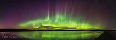 Arc of the Northern Lights (Amazing Sky Photography) Tags: alberta alignment aurora bigdipper northernlights ptgui arc auroraloval colours panorama pond reflection water
