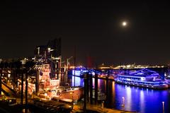 Feuerschiff, Hamburg (_webman_) Tags: port hamburg night lights longexposure moon canon elbphilharmonie ship vessel harbor water city sporthafen baumwall elbpromenade stadt nacht wasser hafenviertel