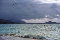 Kailua Beach (2) (AntyDiluvian) Tags: hawaii 2001 30thanniversary oahu northshore beach kailuabeach whitesand surf kiteboarding clouds kitesurfing kailua