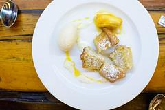 Plátano con pastel de almendra (Banana with almond tart, banana ice cream) (ALifeWorthEating) Tags: mexico mexicocity shellfish seafood laja merotoro jairtéllez