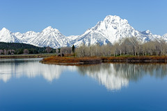 Oxbow Bend (bhophotos - not for much longer) Tags: travel trees usa snow mountains reflection nature water river landscape geotagged spring nikon valley wyoming nikkor tetons jacksonhole grandtetonnationalpark bllue gtnp oxbowbend mtmoran d700 snakerriver 70200mmf28gvrii bruceoakley