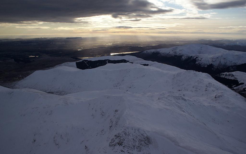 Ben Vorlich summit with Ben Ledi and Loch Venachar beyond