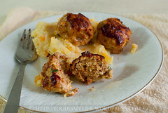 Baked Chicken-Pork Meatballs (Foodie Baker) Tags: food chicken cheese baking bacon photos pork onion recipes meatballs parmesan baked