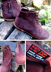 Handmade Brown Suede Boots - on sale! (heavymetalvomitparty) Tags: shells feet leather stone silver found diy necklace forsale cardinal boots sale handmade teeth jewelry taxidermy chain bone amethyst preserved etsy raccoon ankle cobbler suede commissioned wirewrapped heavymetalvomitparty hmvp seagullvertebrae