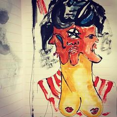 Soeur diabolique (journoir) Tags: tits boobs sister witch lips pentagram demon devil hydra soeur sorceress redstripes succubus maneater belial threeheaded diabolique uploaded:by=instagram boobdemon