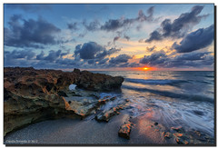 Rocks and the Rising Sun (Fraggle Red) Tags: morning sun seascape water clouds sunrise landscape dawn sand rocks florida lowtide hdr jupiterisland 7exp outgoingtide canonef1635mmf28liiusm coralcovepark dphdr palmbeachco canoneos5dmarkiii 5d3 5diii