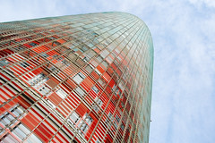 Torre Agbar vertigo (marin.tomic) Tags: barcelona city travel sky urban color detail tower architecture skyscraper high spain nikon colorful europe mediterranean bcn vertigo catalonia espana highrise catalunya torreagbar height spanien jeannouvel katalonien d40