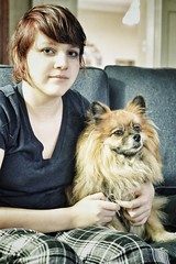kat and bailey (vrot01) Tags: dog dogs kat memphis katie bailey fujifilm pomeranian auntieann 35f14 xpro1 snapseed