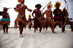 Indigenous marchers assemble on Flamengo Beach