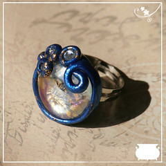 Medieval Blue and Gold Ring (witchemporium) Tags: blue glass silver gold handmade live jewelry bijoux medieval ring fantasy clay historical fairies base gdr witchy reconstruction jewel pagan witchery roling polimer regulable