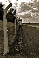 """Neutrale Zone - Es Wird ohne Anruf solar scharf geschossen - """"Death Strip"""" - An electric fence and a camp wall at Sachsenhausen Concentration Camp - Oranienburg, Germany (Blue Rave) Tags: blackandwhite bw building berlin wall sepia architecture germany deutschland holocaust vanishingpoint europa europe path pathway 2012 concentrationcamp sachsenhausen oranienburg sachsenhausenconcentrationcamp thecolorsepia"""